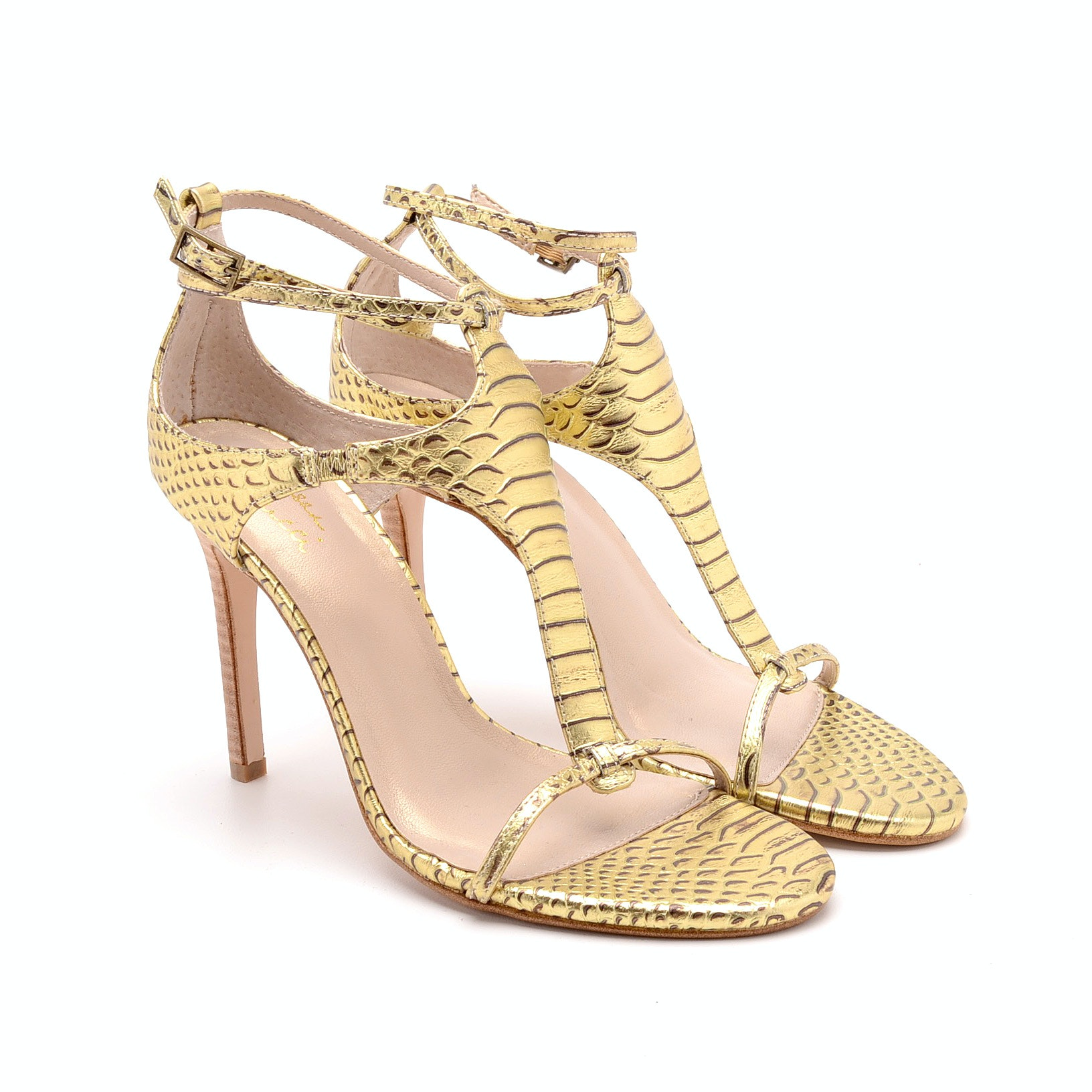 Susan Lucci Brand Gold Metallic Embossed Leather Dress Sandals