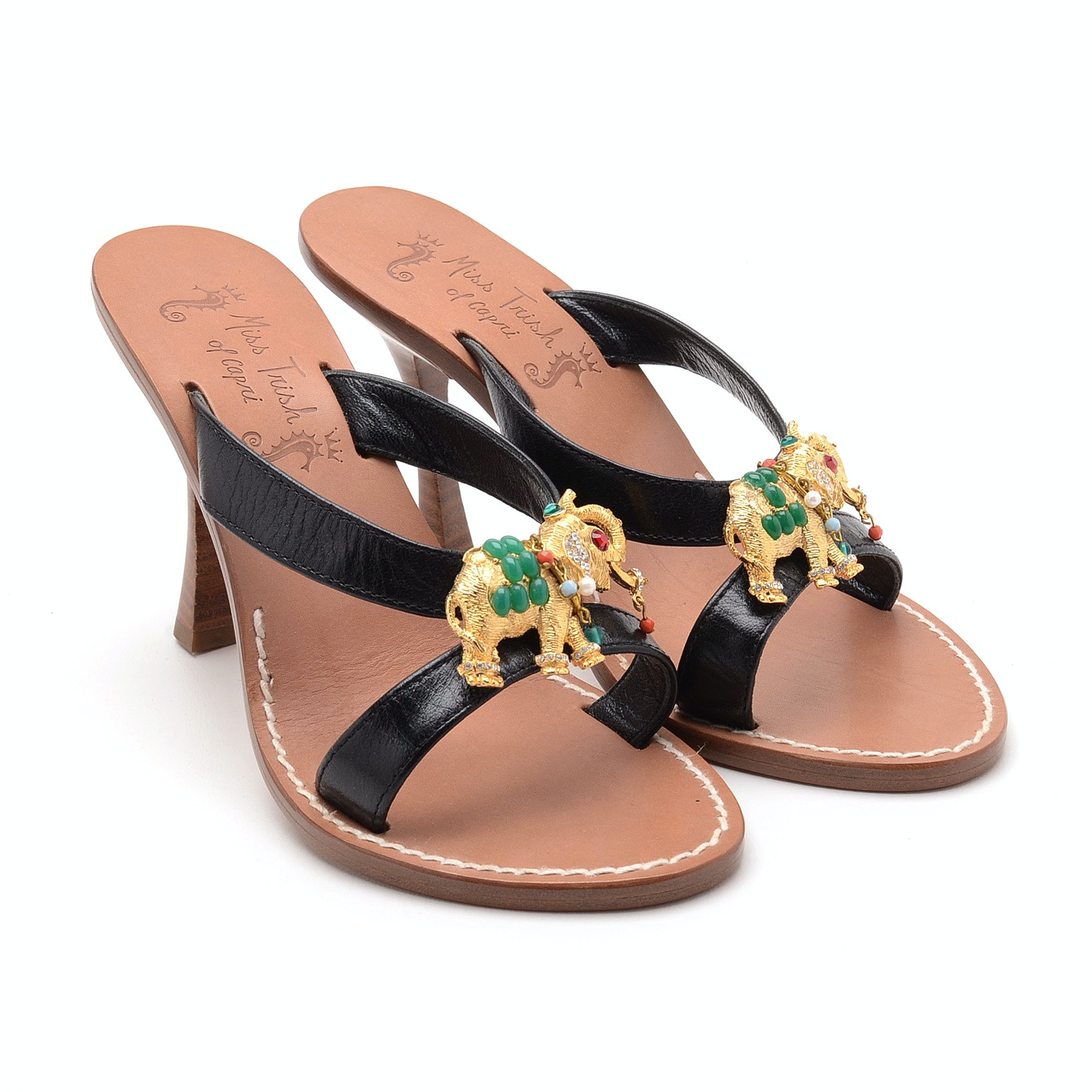Miss Trish of Capri Black Leather Open Toe Slide Dress Sandals Embellished with Goldtone Textured Elephant Bejeweled with Cabochons and Beads