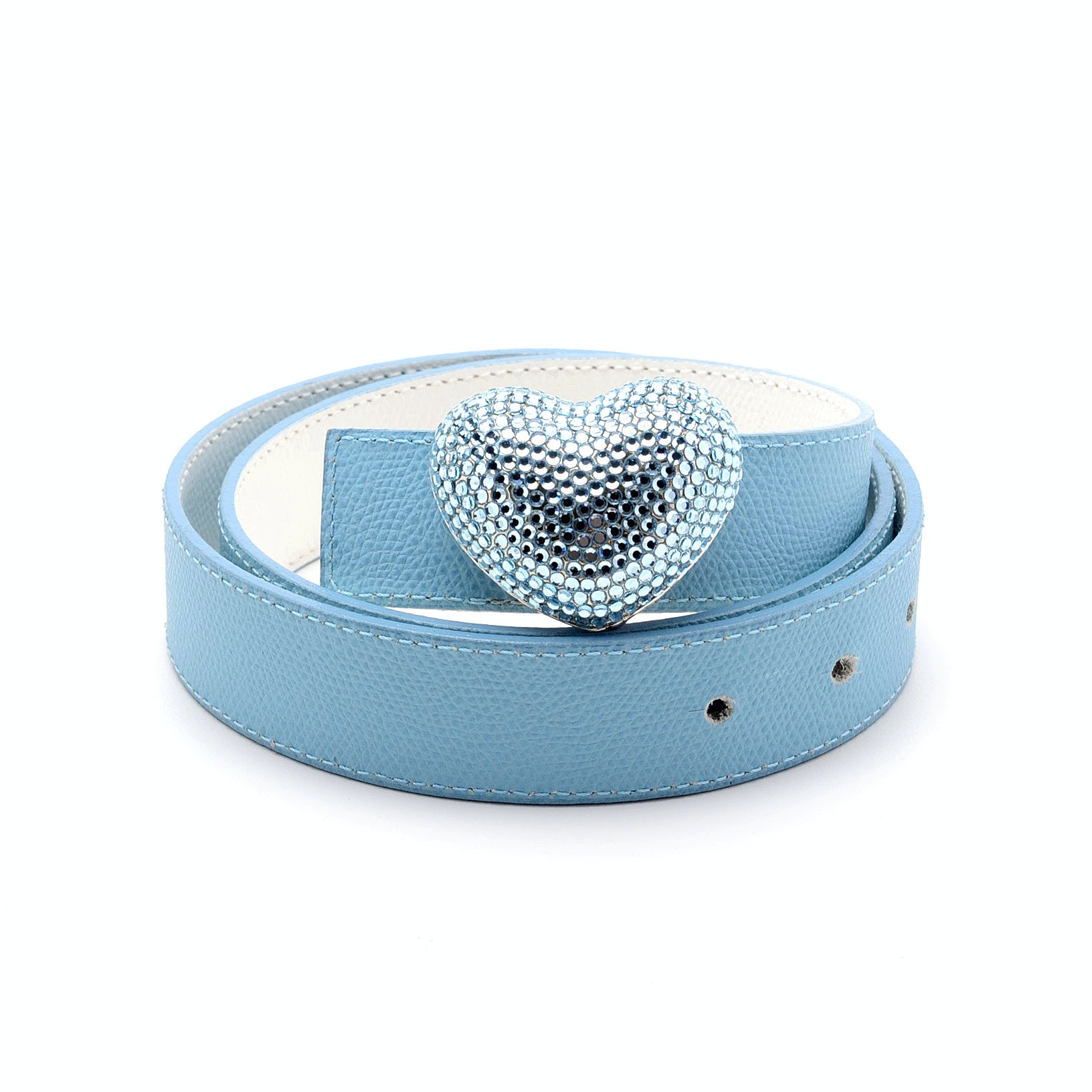 Pastel Blue and White Lizard Skin Leather Belt with Eliza Gray Heart Shape Blue Swarovski Crystal Encrusted Buckle