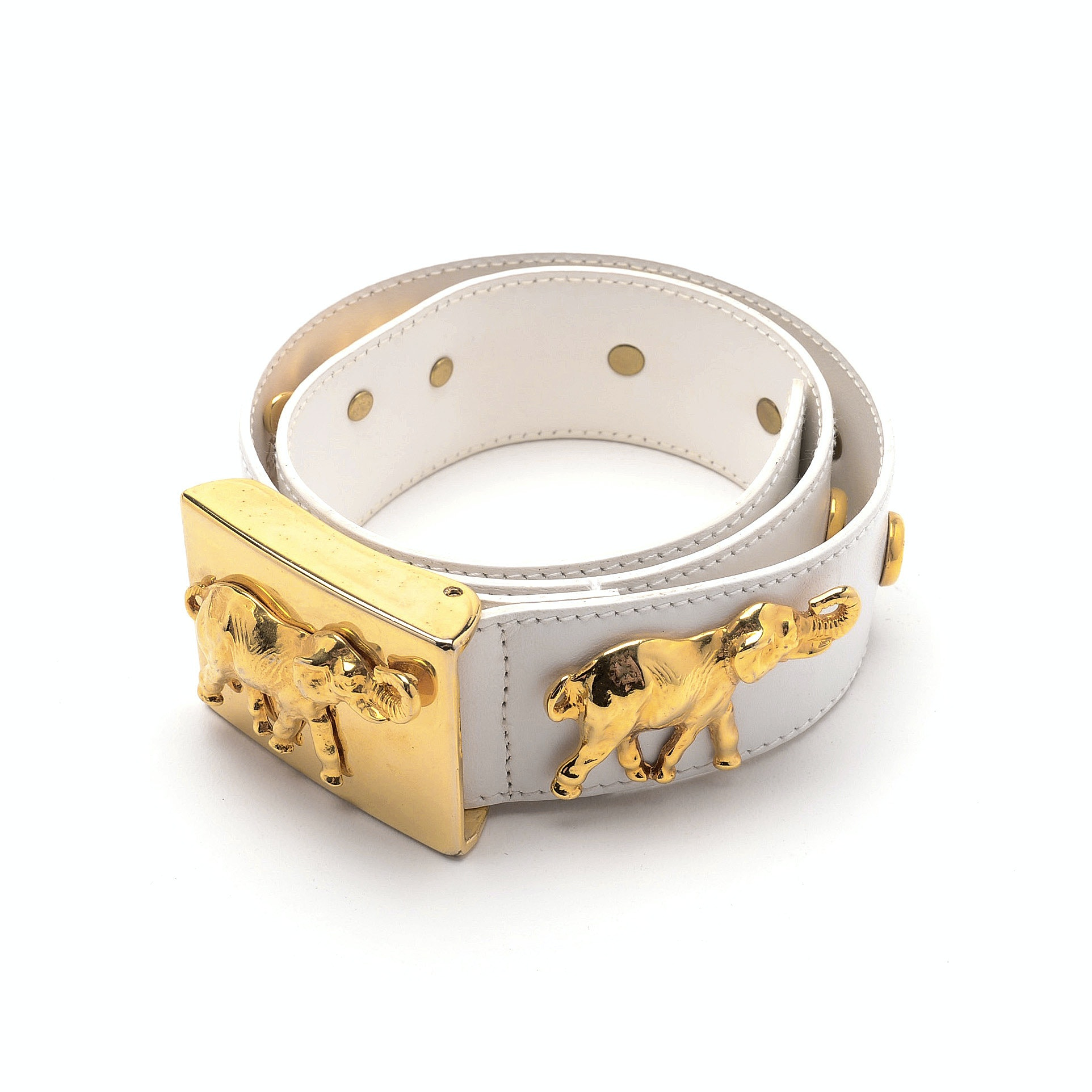 Escada White Leather Belt in an Elephant Motif with Faux Pearl Medallions in High Polish Goldtone Finish