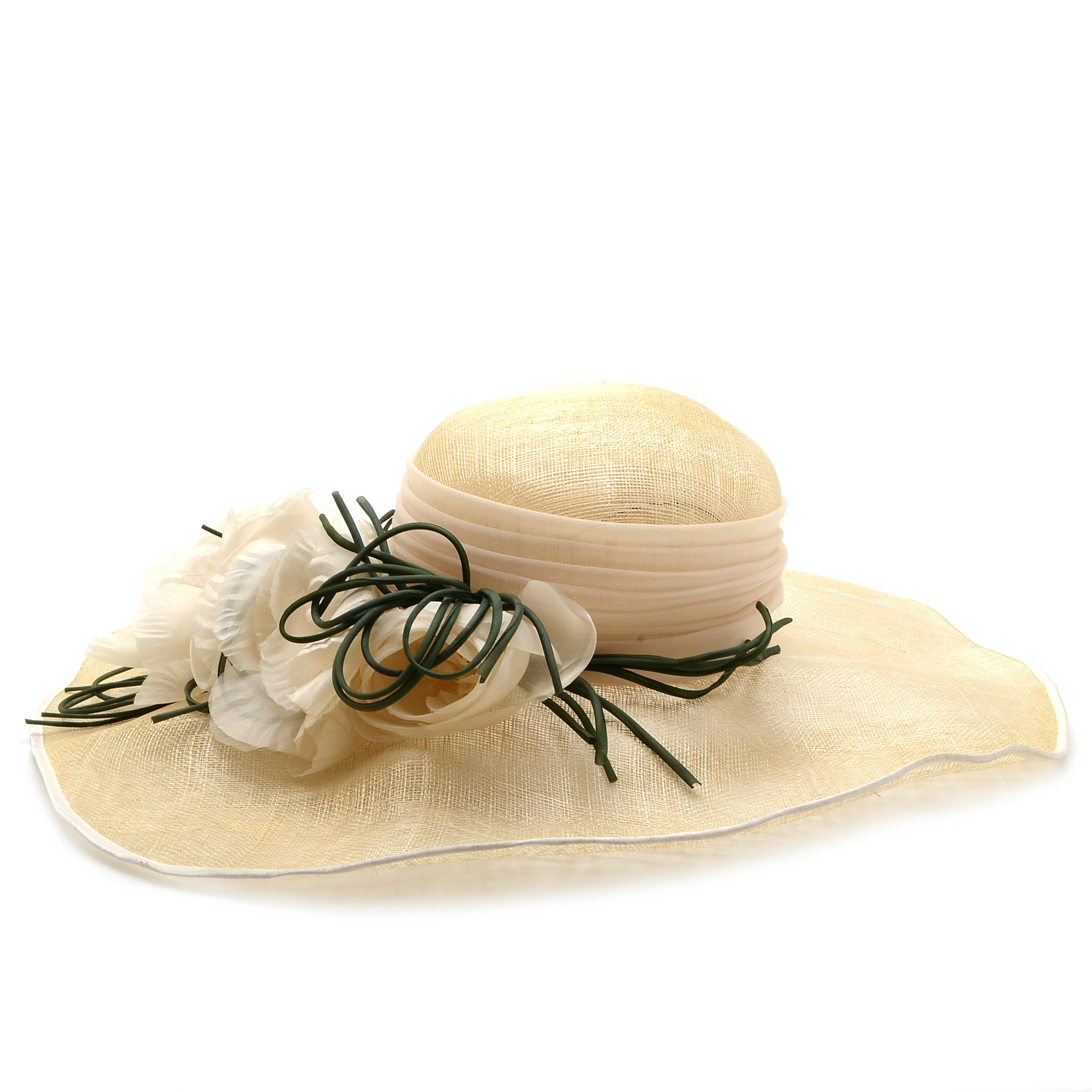 Suzanne of New York Fine Custom Made Millinery Ivory Cellophane Picture Hat with Florals and Signature Hat Box