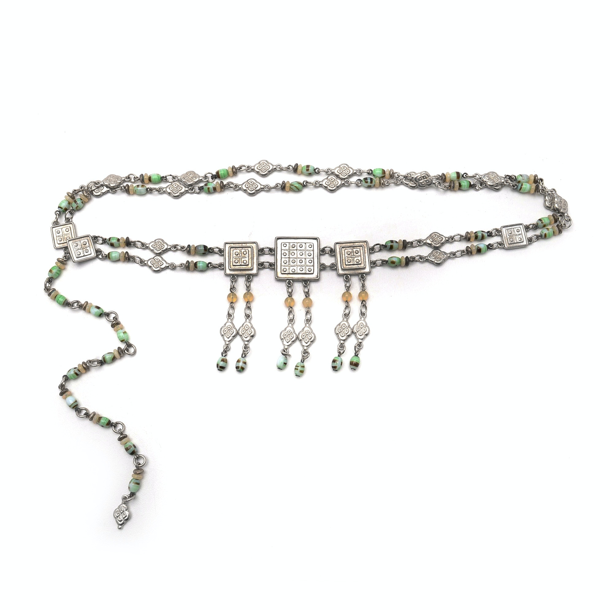 Ben - Amun Chain and Glass Belt Necklace