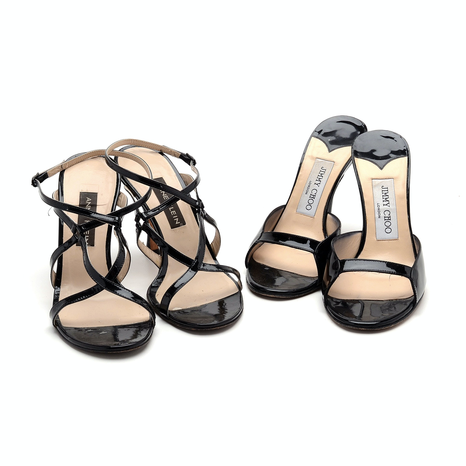 Jimmy Choo and Anne Klein Black Patent Leather Dress Sandals
