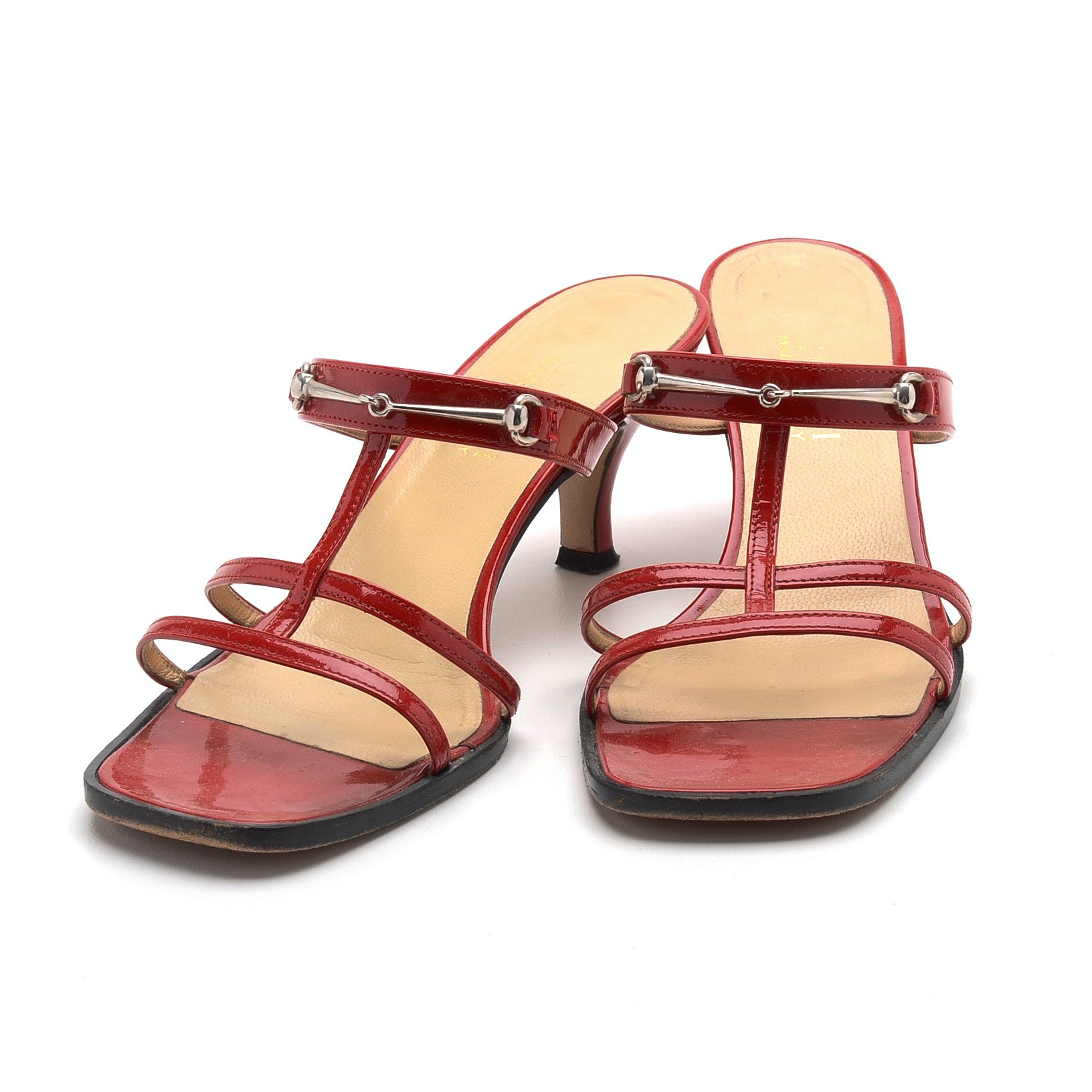 Gucci Strappy Red Patent Leather Slide Dress Sandals with Kitten Heel