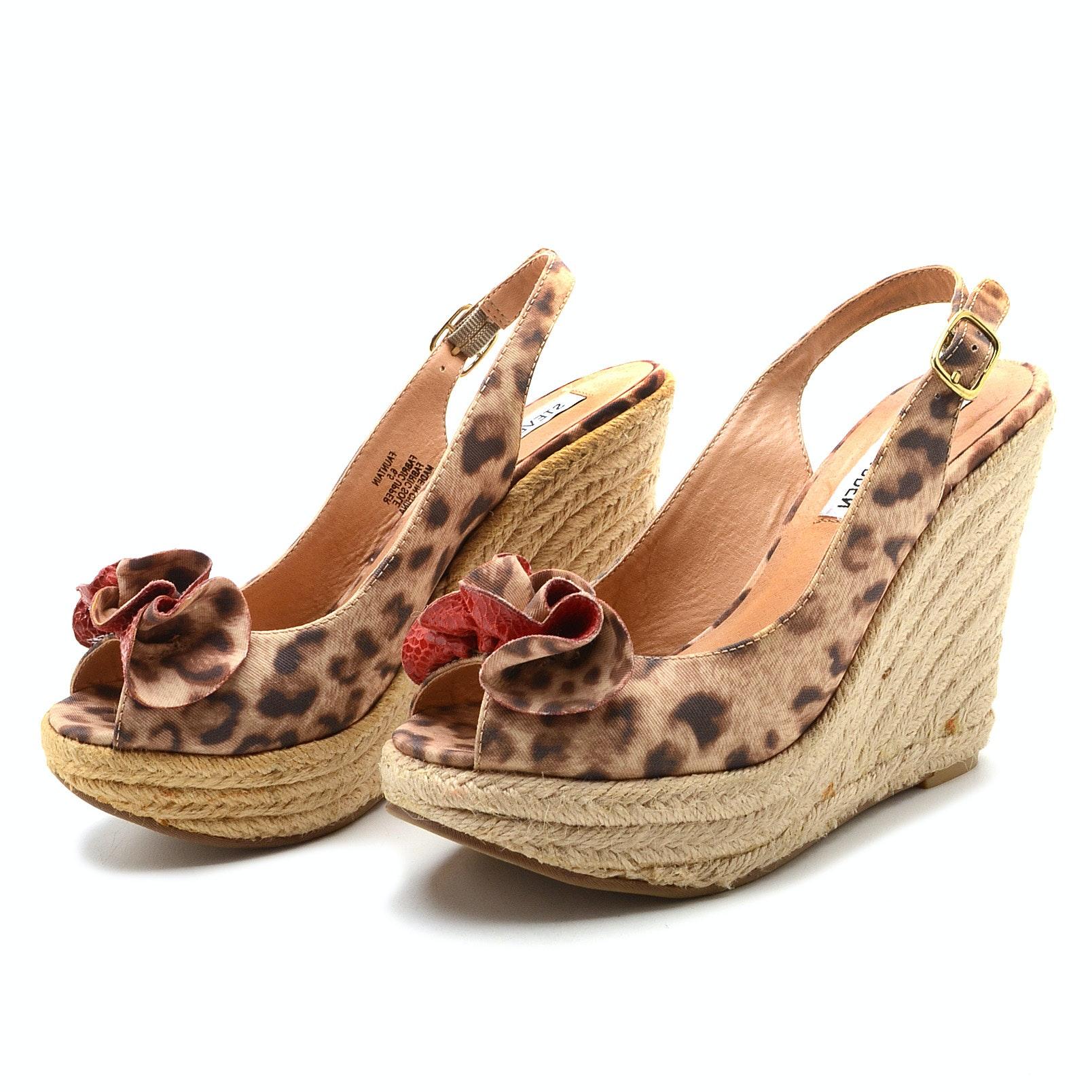 Steve Madden Espadrille Wedge Platform Leopard Print Fauntain Sandals