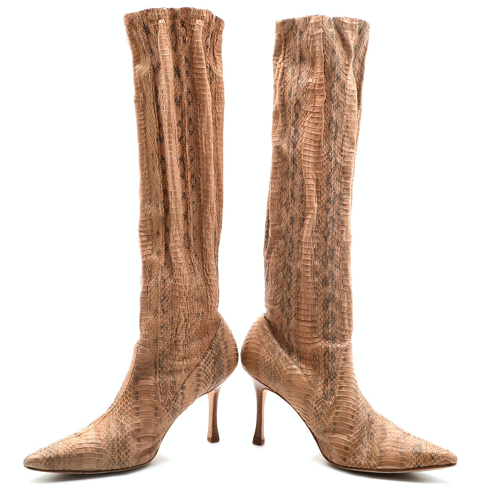 Pair of Manolo Blahnik Snakeskin Embossed Faux Leather Below-The-Knee Pull-Up Boots