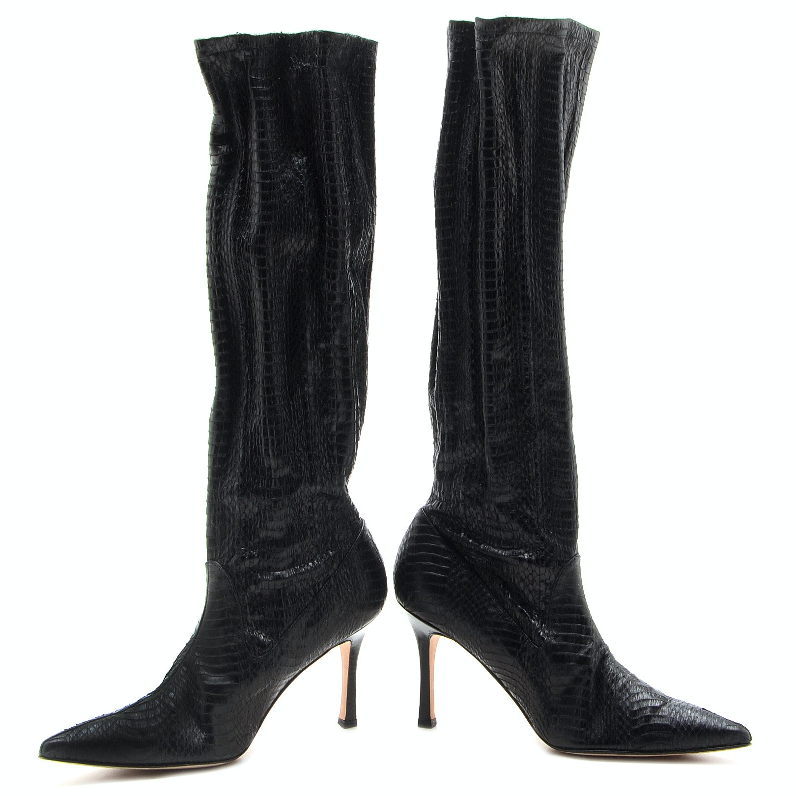 Manolo Blahnik Black Snakeskin Embossed Below-The-Knee Pull-Up Boots