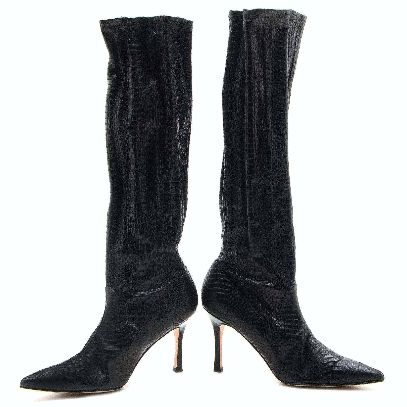 Manolo Blahnik Black Snakeskin Embossed Below-The-Knee Pull-Up Boots