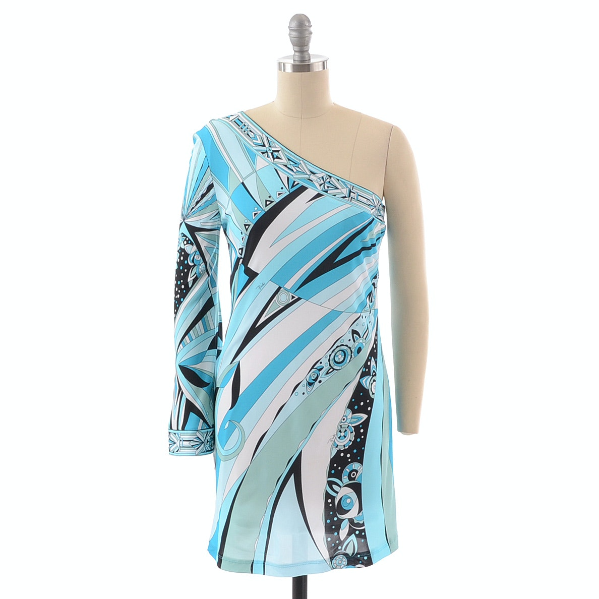 Emilio Pucci Iconic Print One Shoulder Jersey Dress
