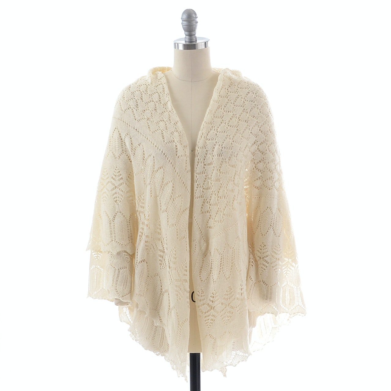 Ivory Cashmere Open Knit Wrap