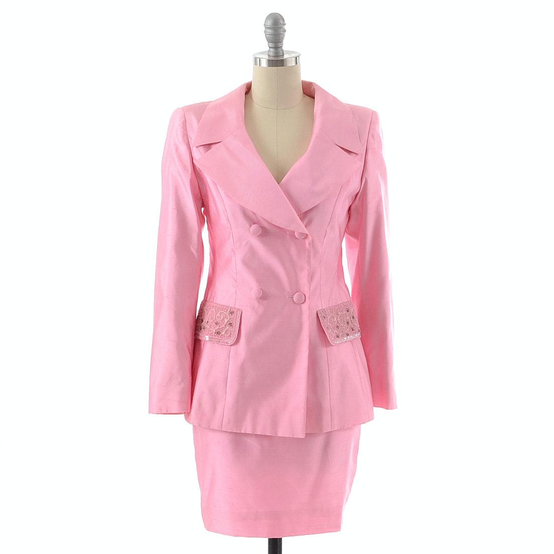 Escada Couture Pink Silk Dupioni Suit