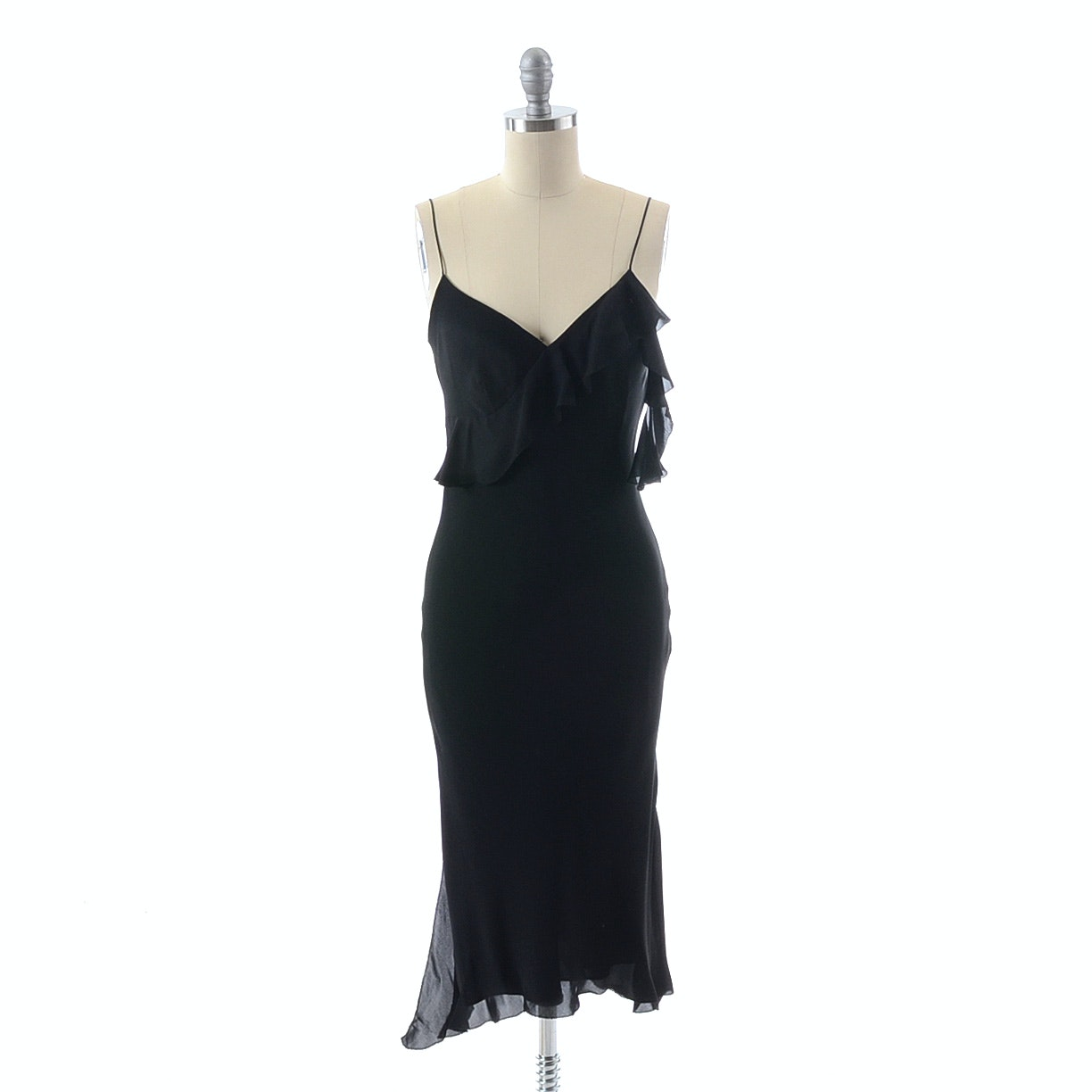 Max Studio Black Silk Chiffon Sleeveless V-Neck Cocktail Dress