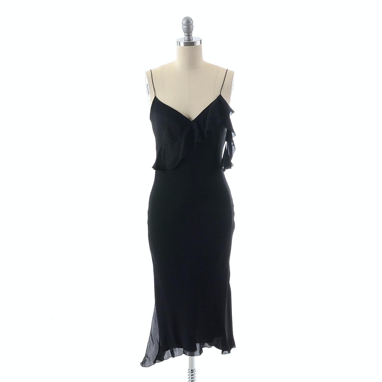 Max Studio Black Silk Chiffon Sleeveless V-Neck Cocktail Dress
