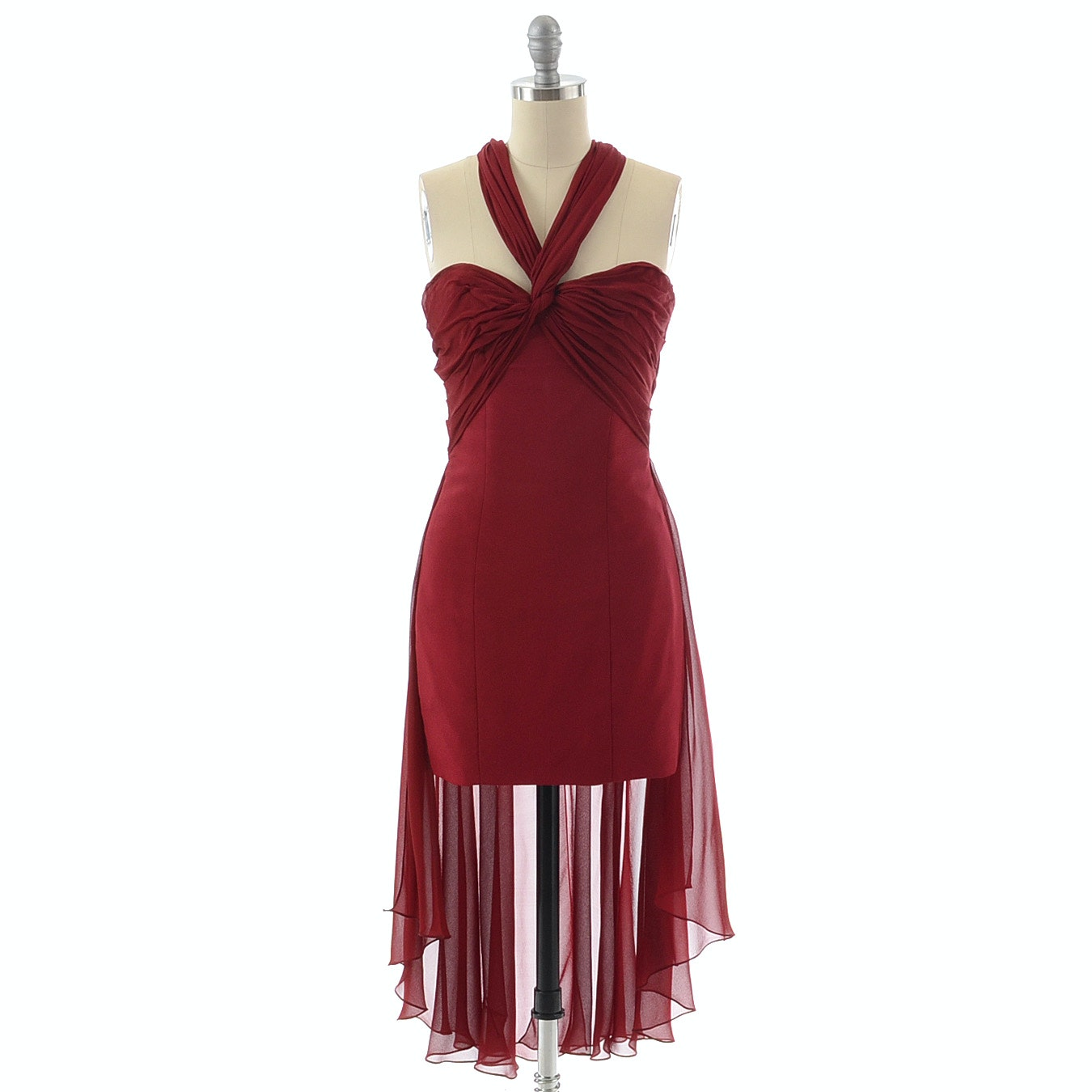 Angel Estrada Formal Mini Dress in Merlot with Silk Chiffon Bodice and Overlayer in Back