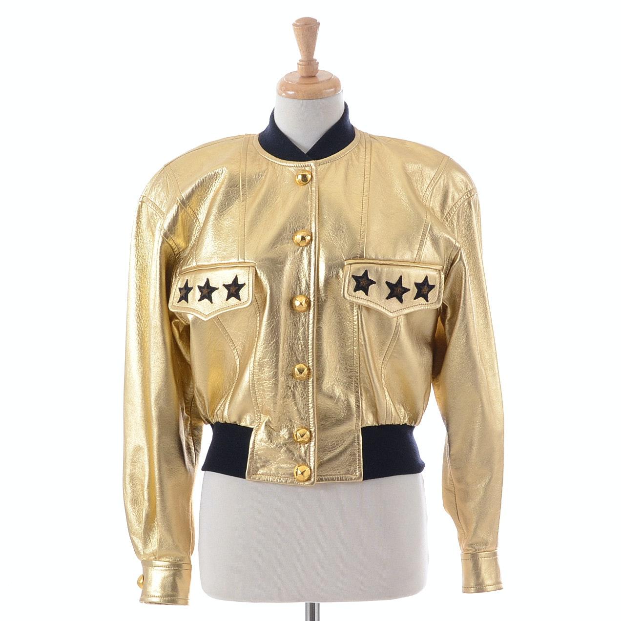 Escada by Margaretha Ley Metallic Gold Leather Jacket