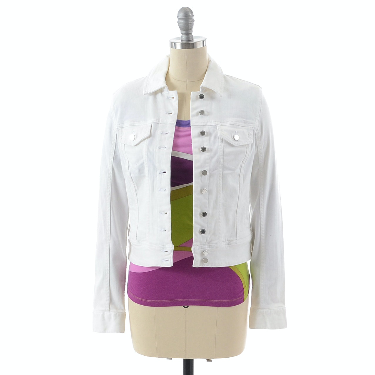 Emilio Pucci Top and Blank NYC White Denim Jacket