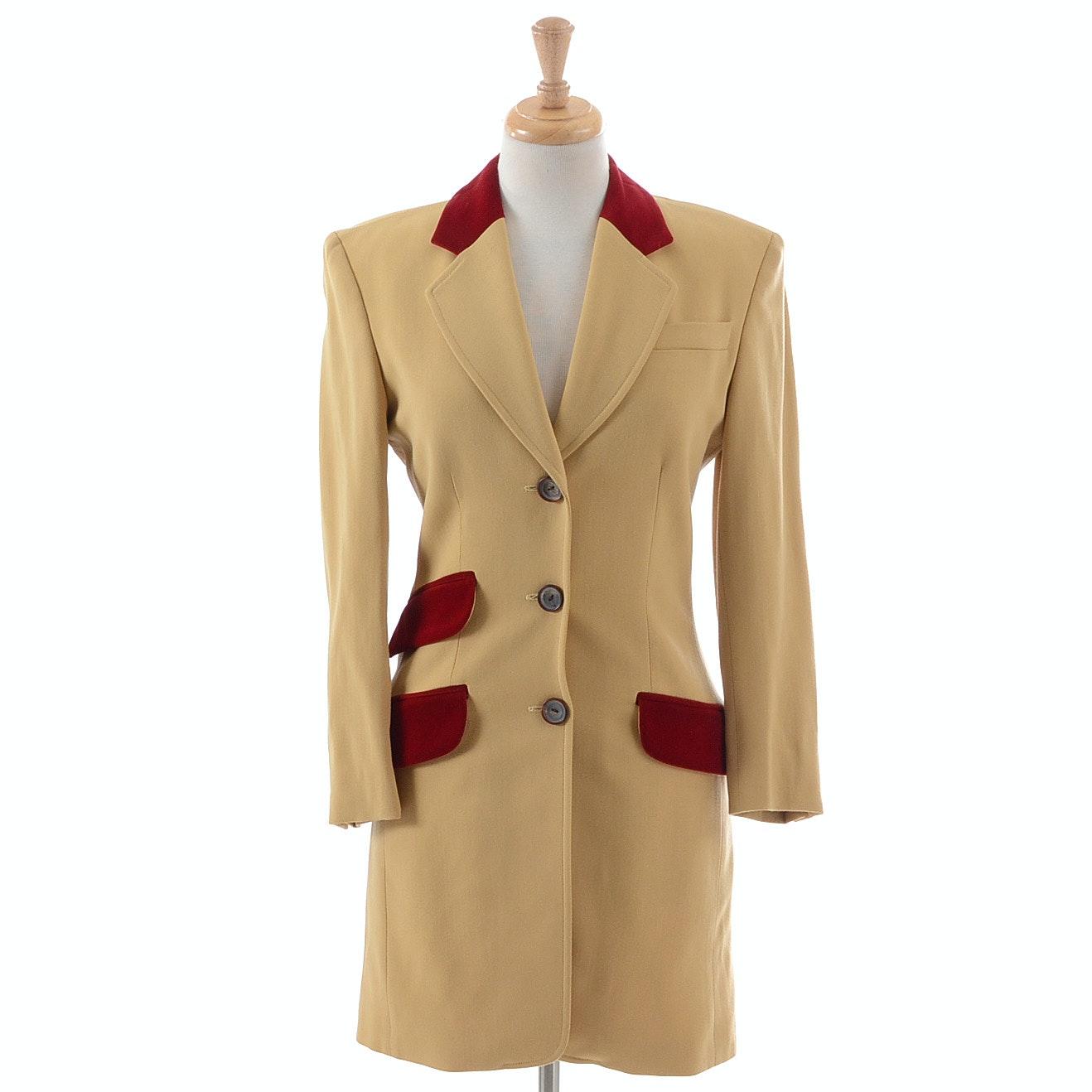 Vintage Crisca Wool Blend Blazer with Velvet Trim