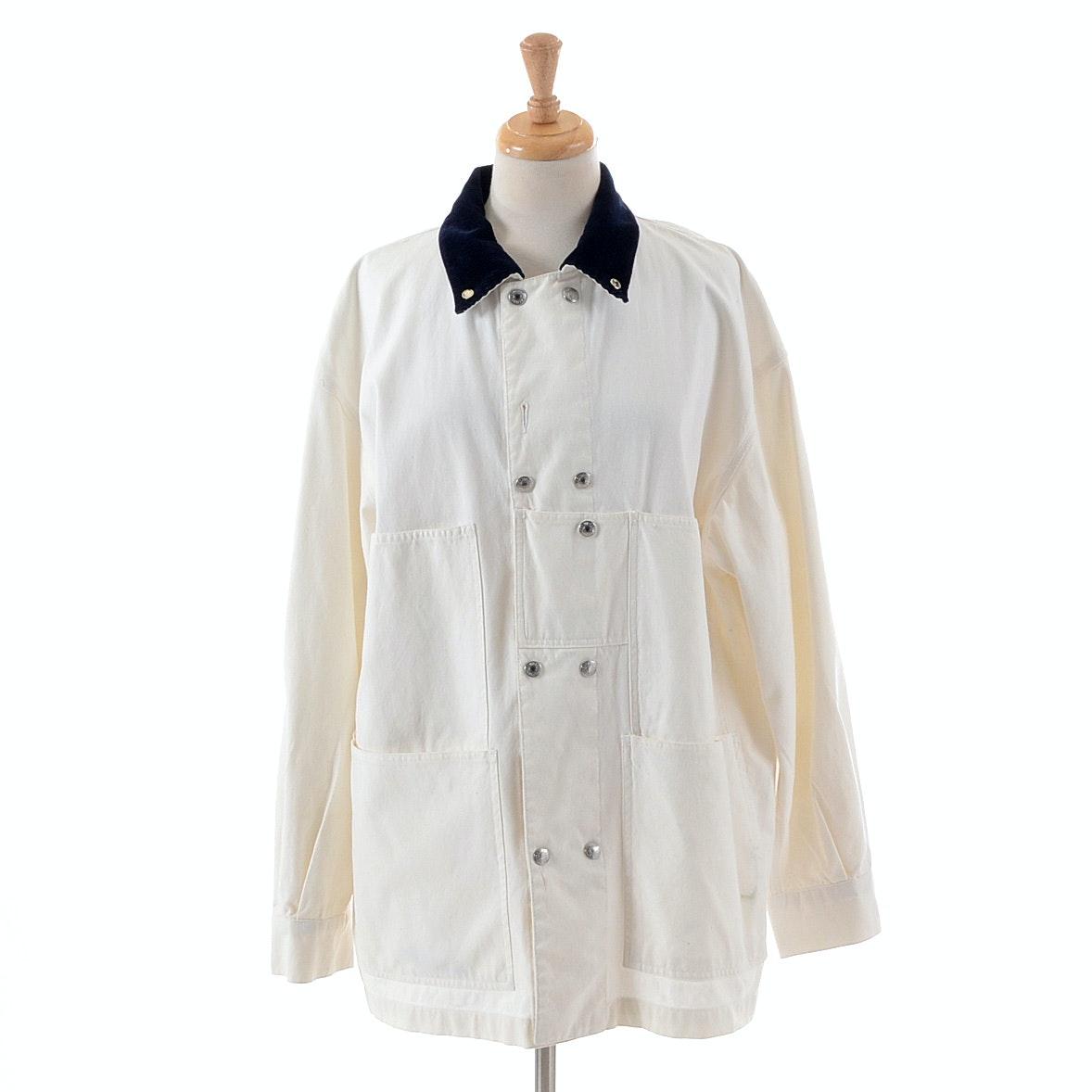 1990s Calvin Klein White Canvas Jacket