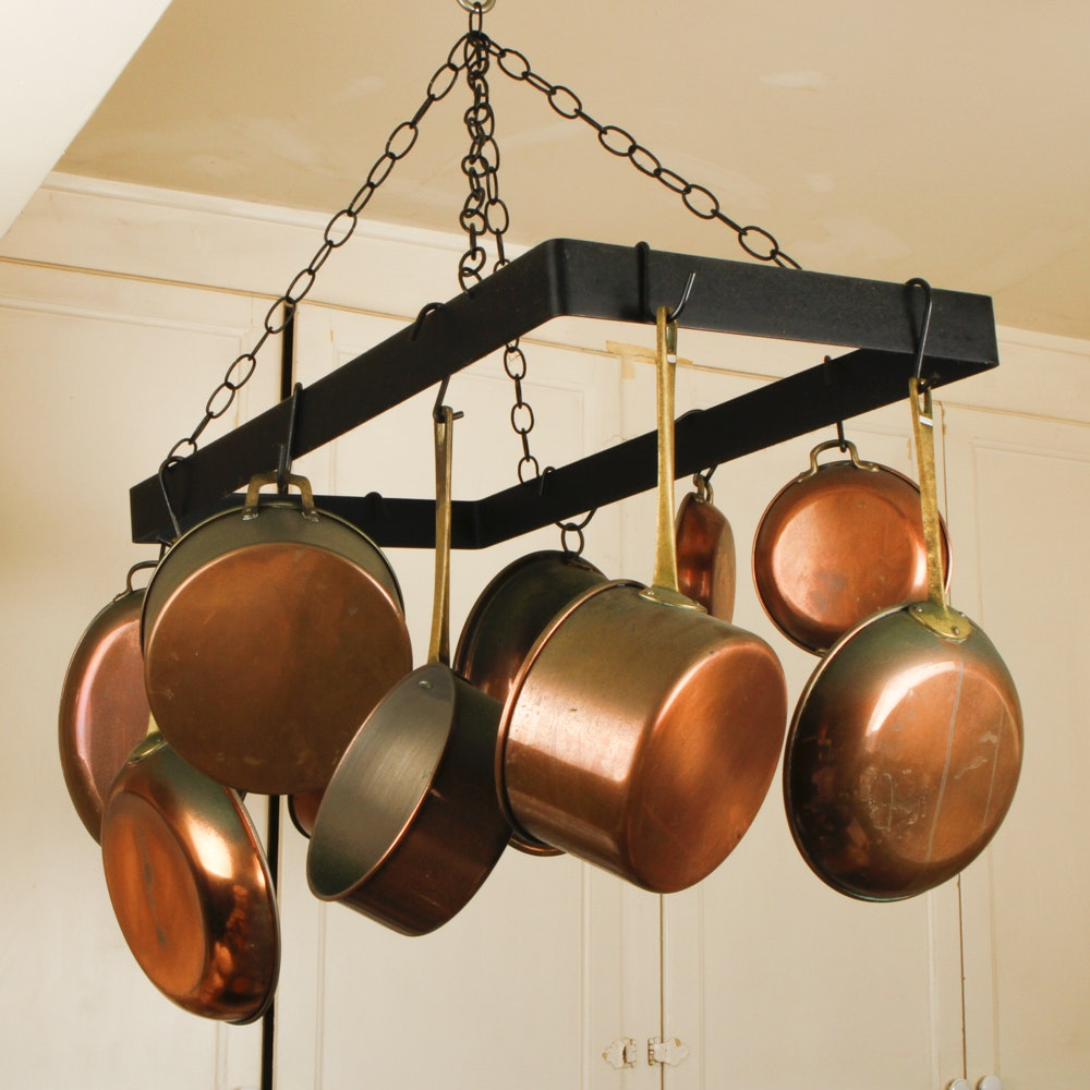 cast iron pot rack and copper pots - Copper Pots