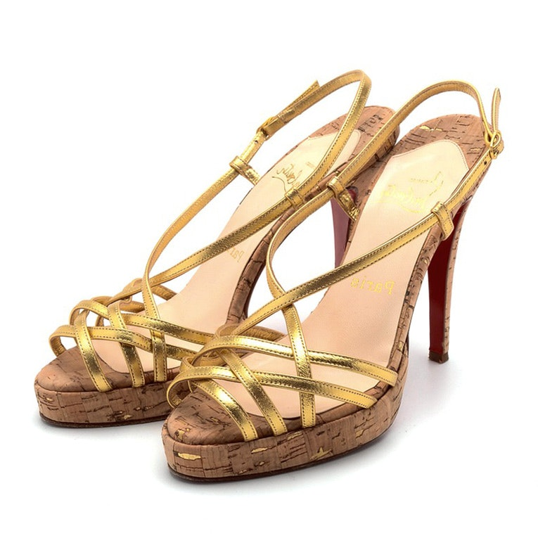 Christian Louboutin of Paris Gold Metallic Leather and Cork Heel Open Toe Sling Backs