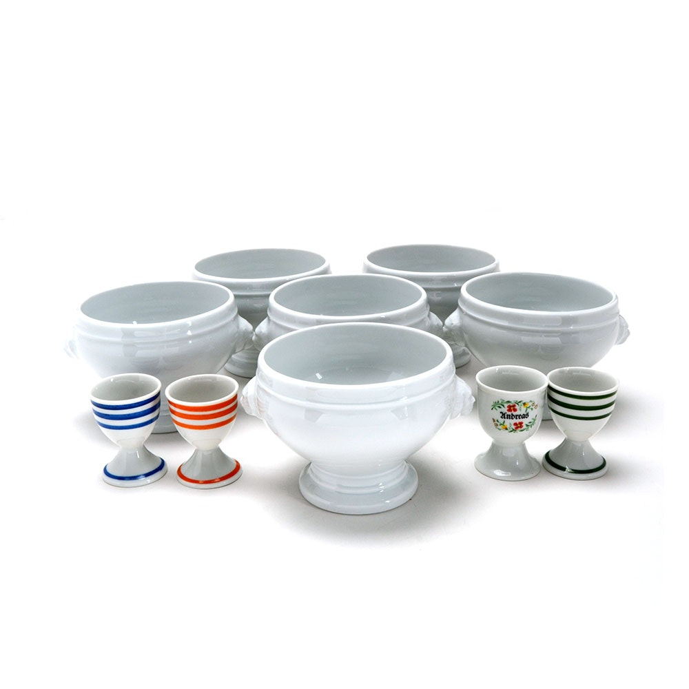 Apilco Lion's Head Soup Bowls with Egg Cups