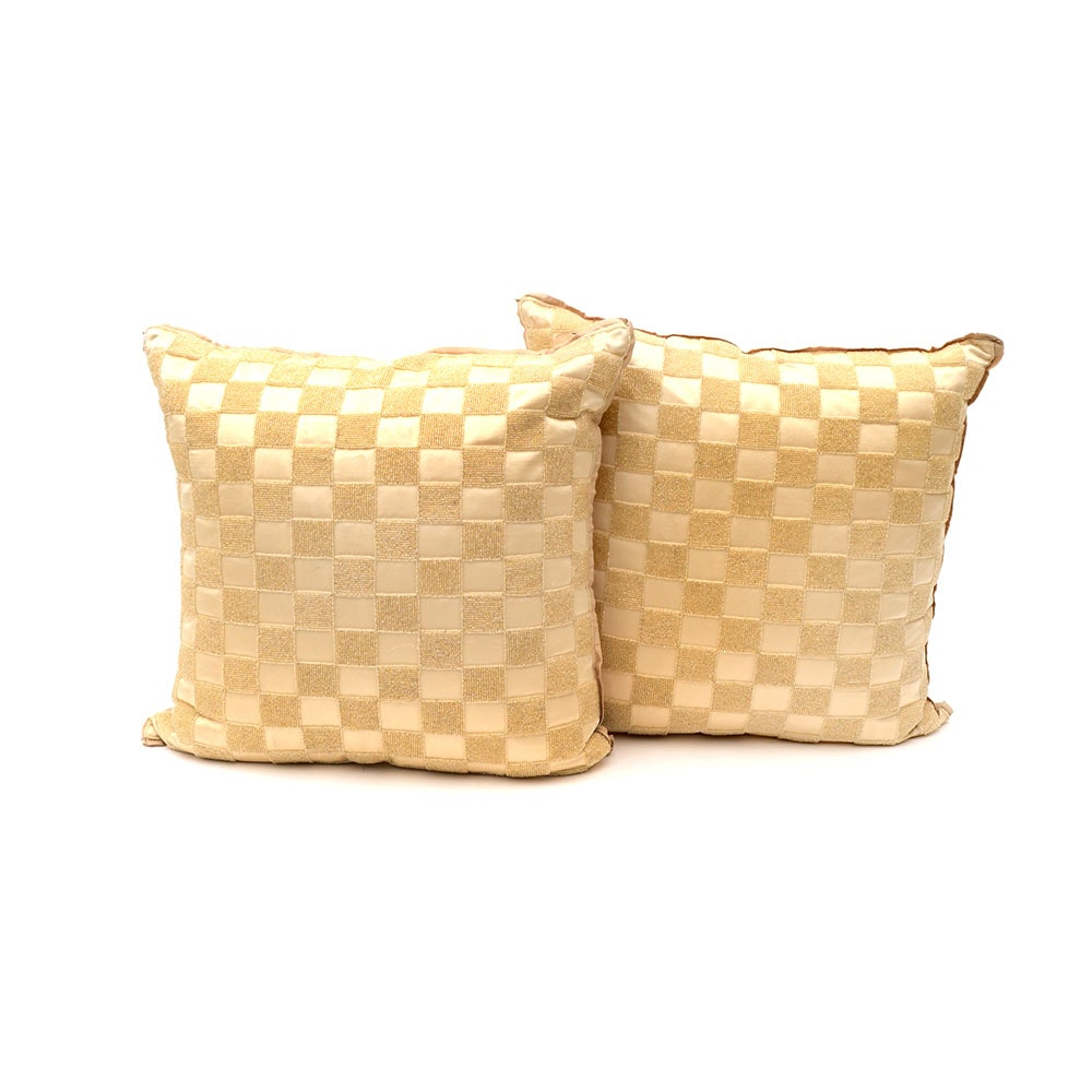 Pair of Silk Beaded Nancy Corzine Accent Pillows