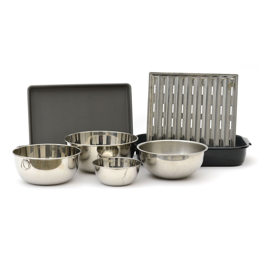 Variety of Metal Bakeware and Mixing Bowls