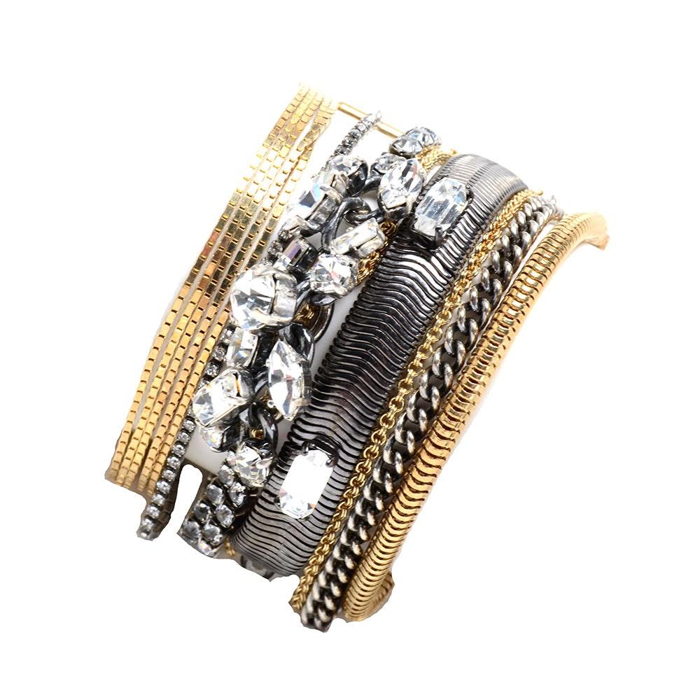 Iosselliani Two Tone Multi-Strand Chain Crystal Encrusted Bracelet