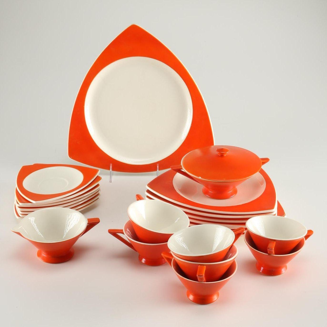 Set of Atomic Art Deco Salem  Tricorne  Dinnerware ... & Set of Atomic Art Deco Salem