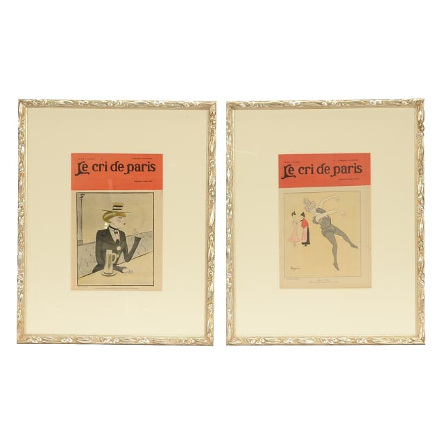 "Two Antique Original Framed Covers of ""Le Cri de Paris"""