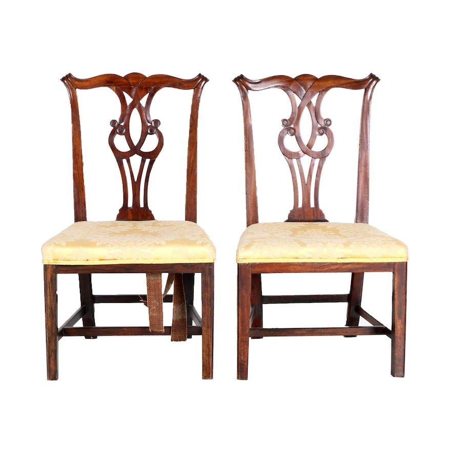 Antique Scroll Patterns: Antique Scroll Pattern Chippendale Side Chairs