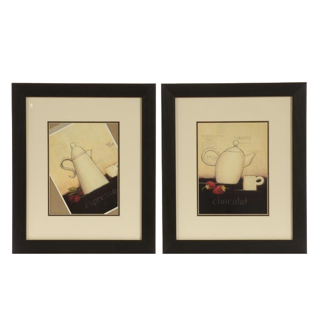 Pair of Emily Adams Coffee-Themed Offset Lithographs