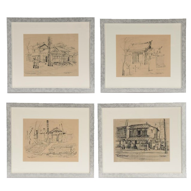 Four Robert Brooks Offset Lithographs of Japan