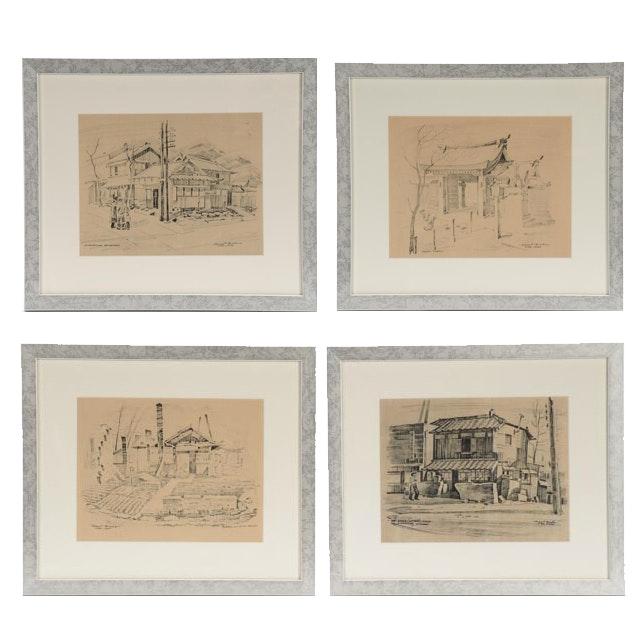 Four Robert Brooks Offset Lithographs of Japan