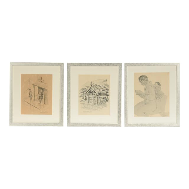 Three Offset Lithographs of Japanese Imagery
