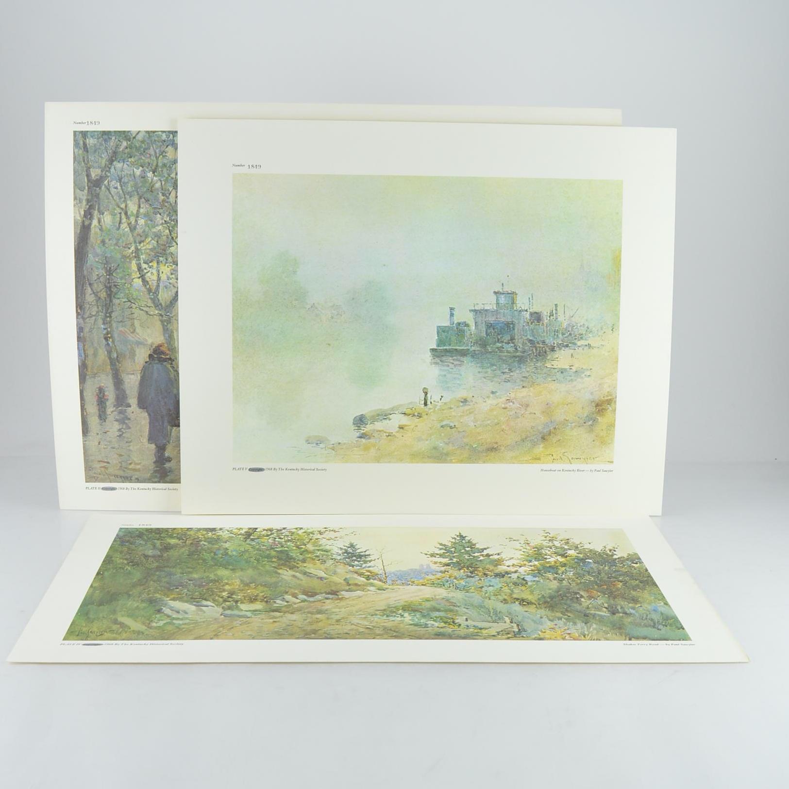 "paul sawyier prints ""old capital hotel"", ""houseboat on kentucky"