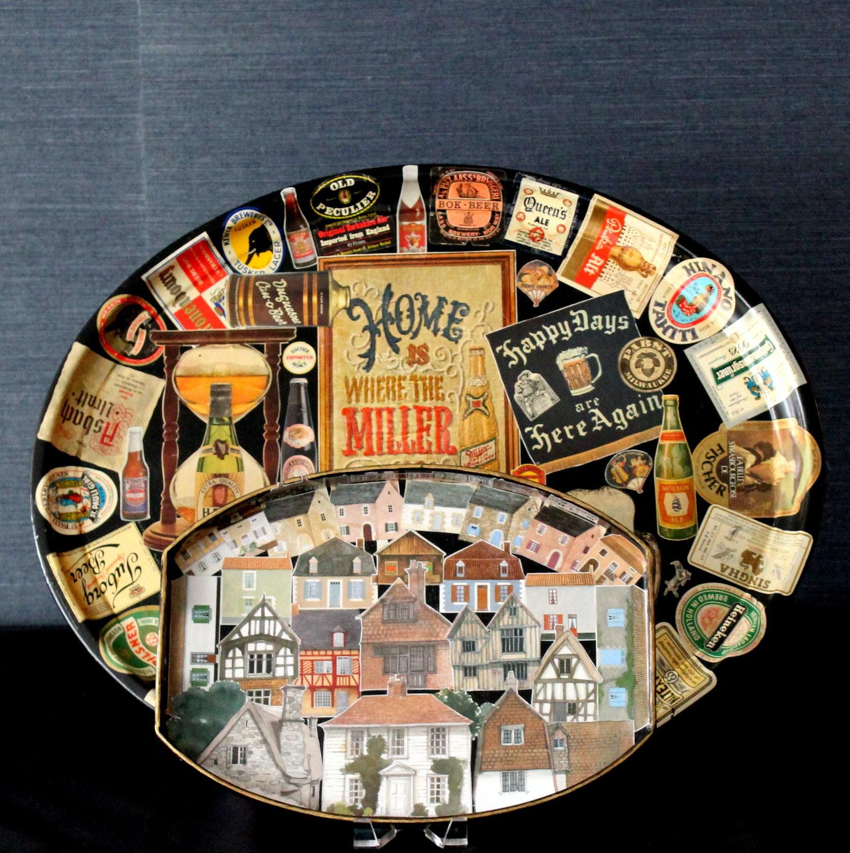 Original Decoupage Trays by Alice Balterman