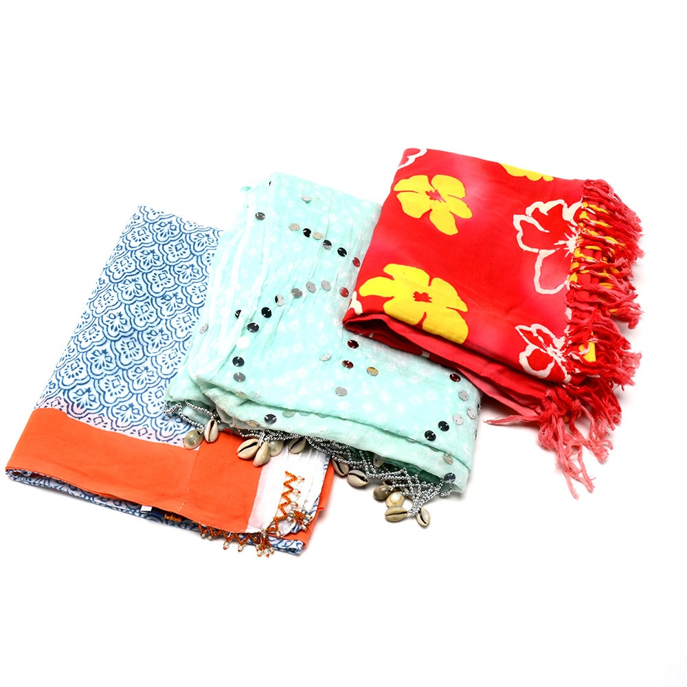 Three Large Cotton Scarves