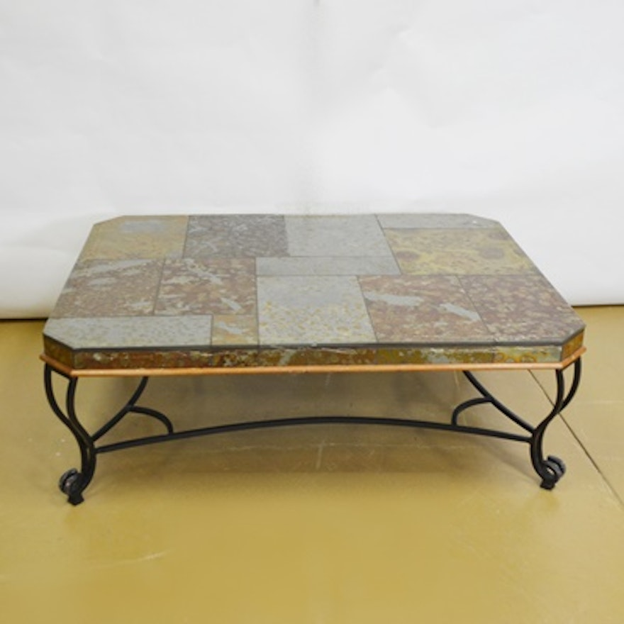 Magnificent Slate Tile And Wrought Iron Coffee Table Beatyapartments Chair Design Images Beatyapartmentscom