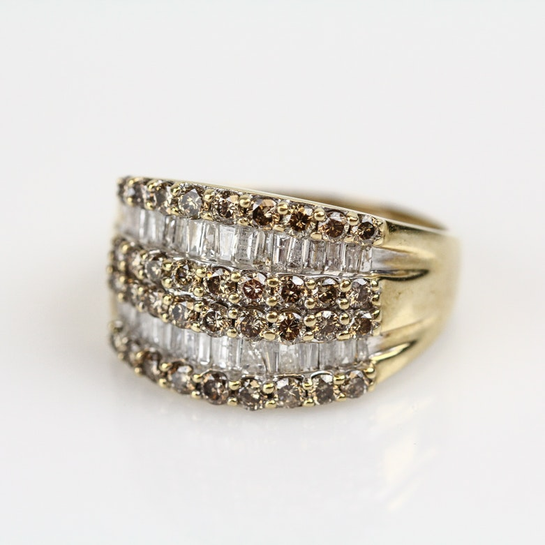 10K Yellow Gold and 1.44 CTW Diamond Multi-Row Ring