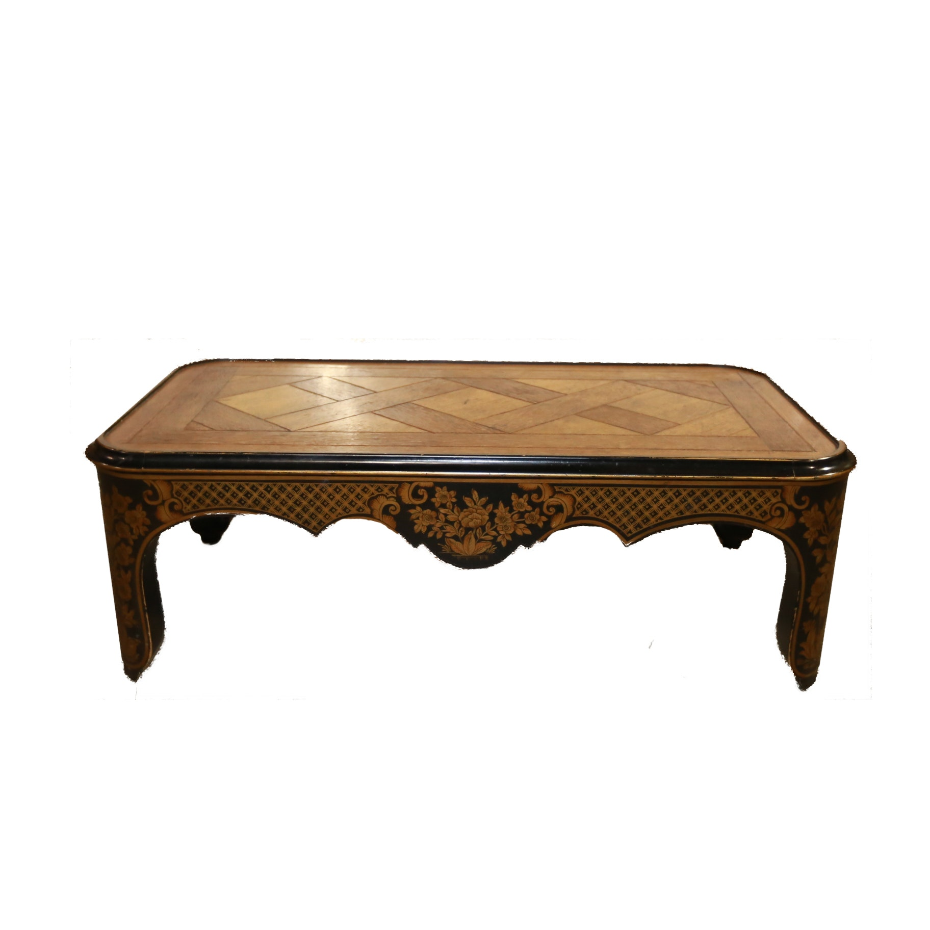Oak and Chinoiserie Coffee Table by Baker Furniture