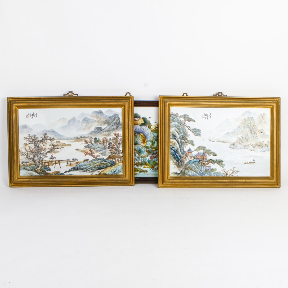 """Collection of Chinese Paintings on Porcelain Tile With Two Signed """"Yu Zhu Shan"""""""