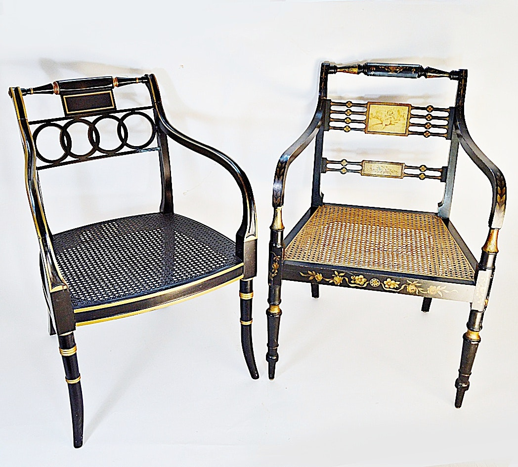 Pair Of Black Lacquered Regency Style Chairs, With Baker ...