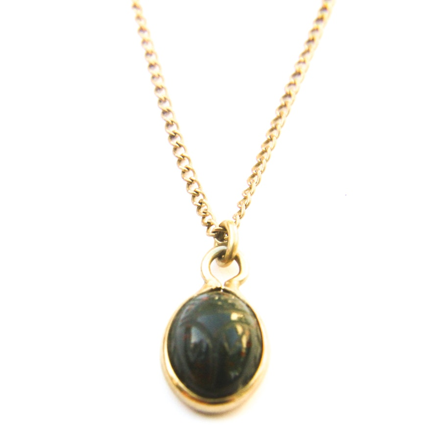 Bloodstone pendant on 12k gold filled chain ebth bloodstone pendant on 12k gold filled chain mozeypictures Image collections