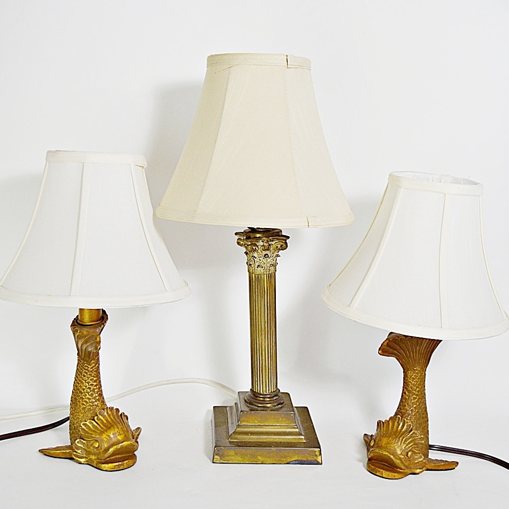Vintage Brass Column Lamp And Two Gold Fish Themed Lamps ...
