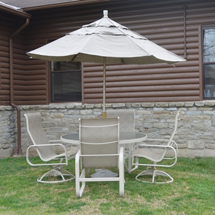 winston patio table four sling back chairs and umbrella - Winston Patio Furniture