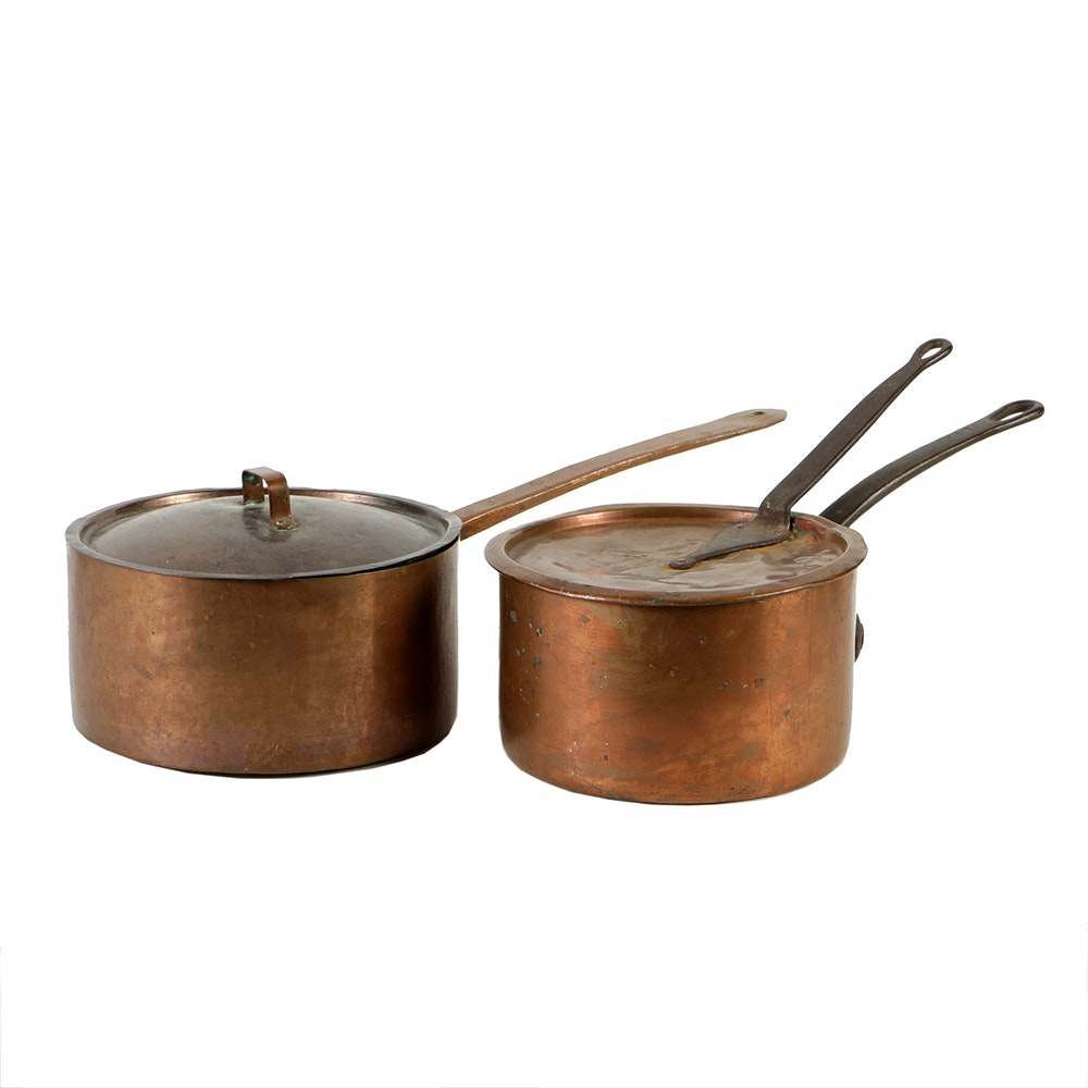 vintage copper pots with long handles and lids - Copper Pots