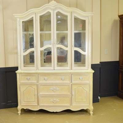 Lexington Light Washed Wood China Cabinet Ebth