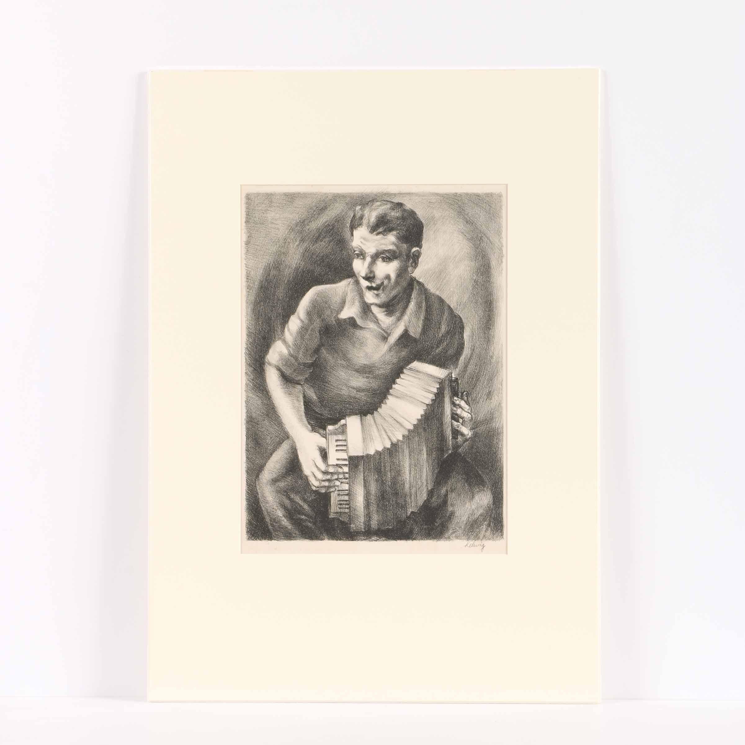 "Arthur Helwig Lithograph on Paper ""Concert"""