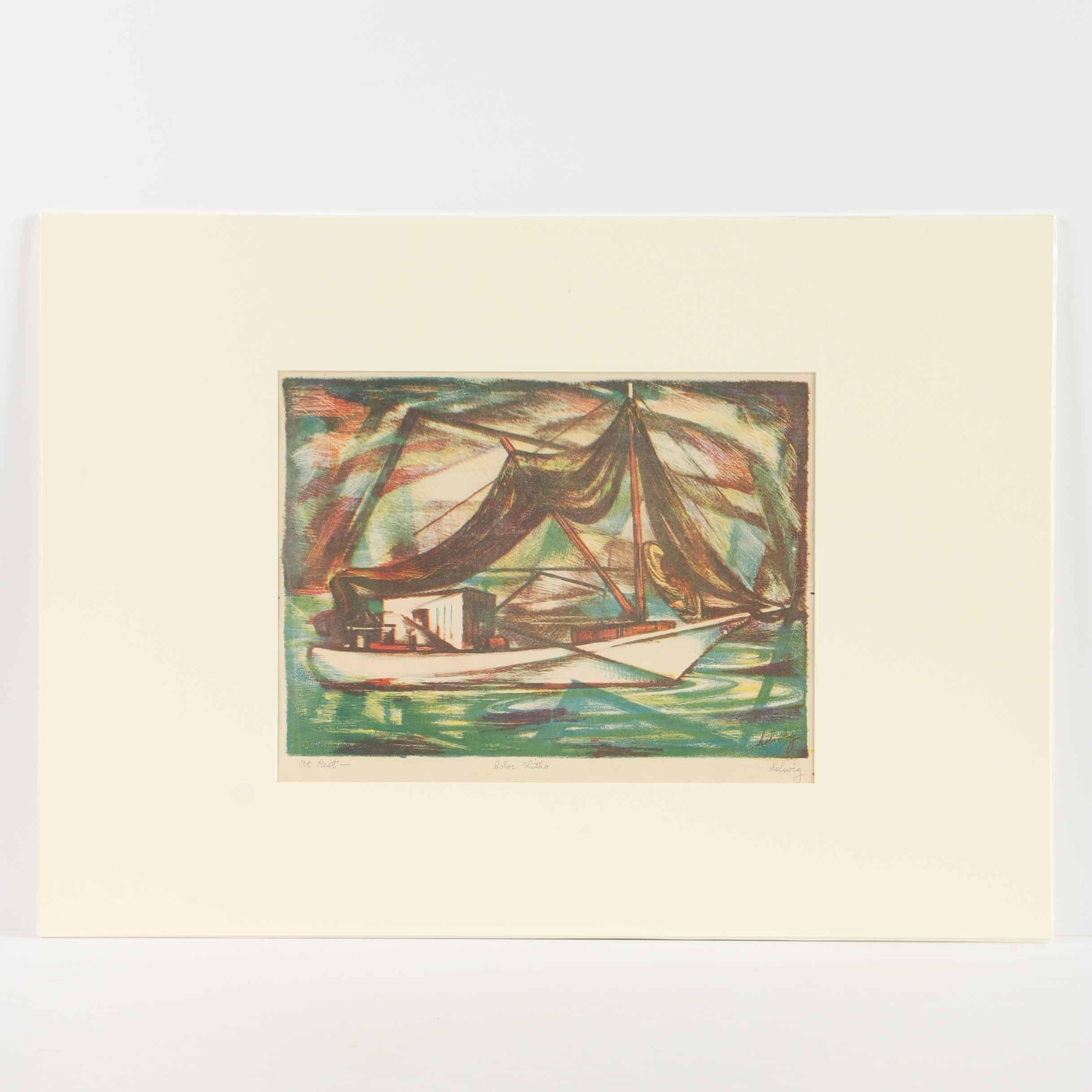"""Arthur Helwig Lithograph """"At Rest"""""""